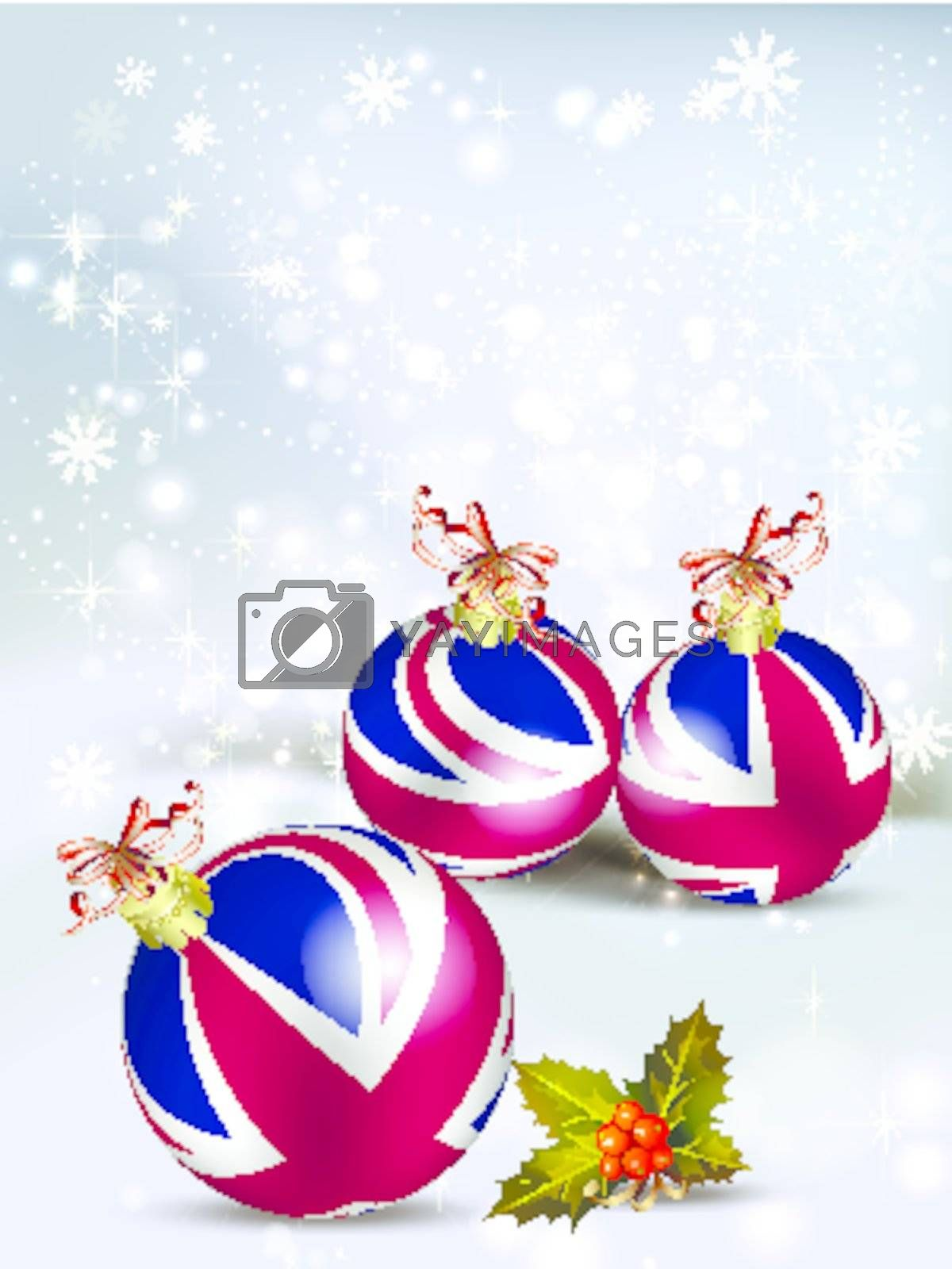 Christmas card decoration from United Kingdom baubles