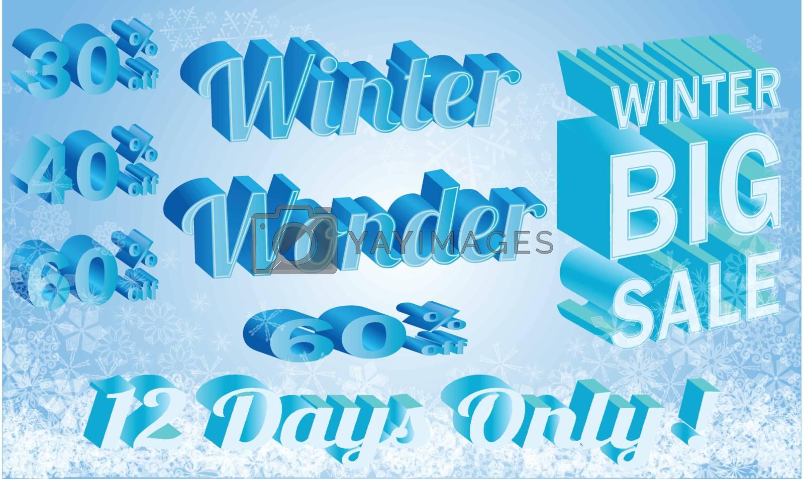 vector 3d elements winter big sale