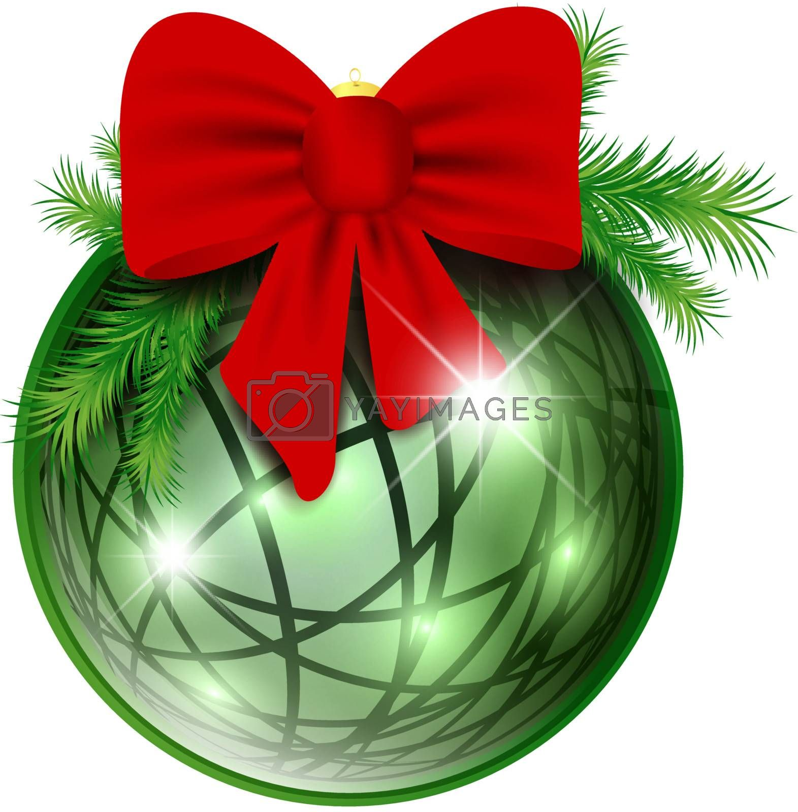 New year ball with red bow and pine branch over white background