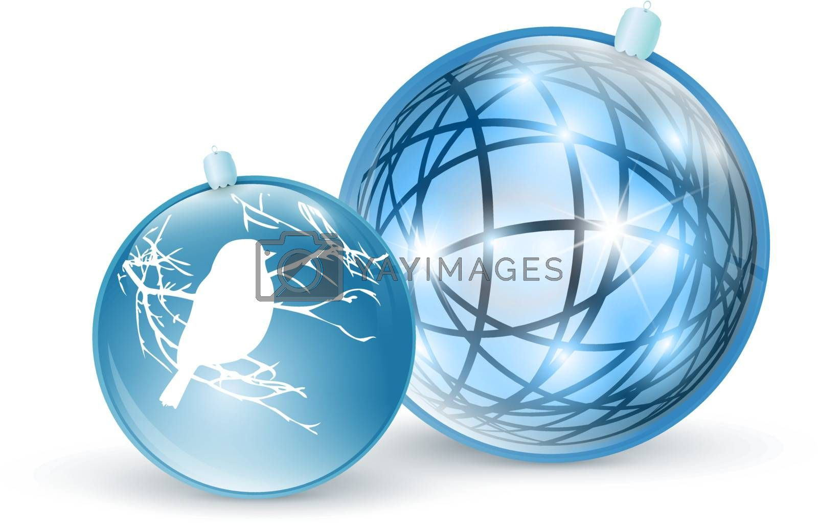 New year and Christmas blue ball toys over white
