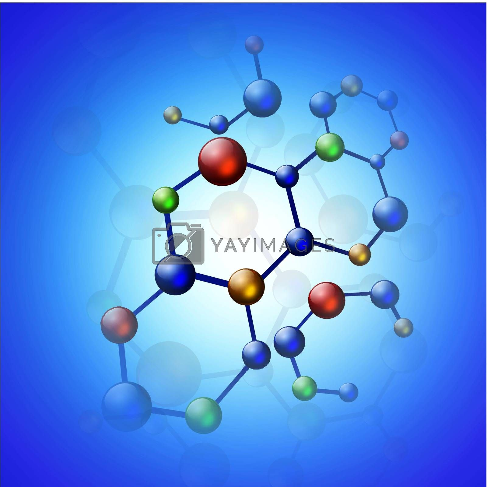 multicolored molecule illustration over blue background