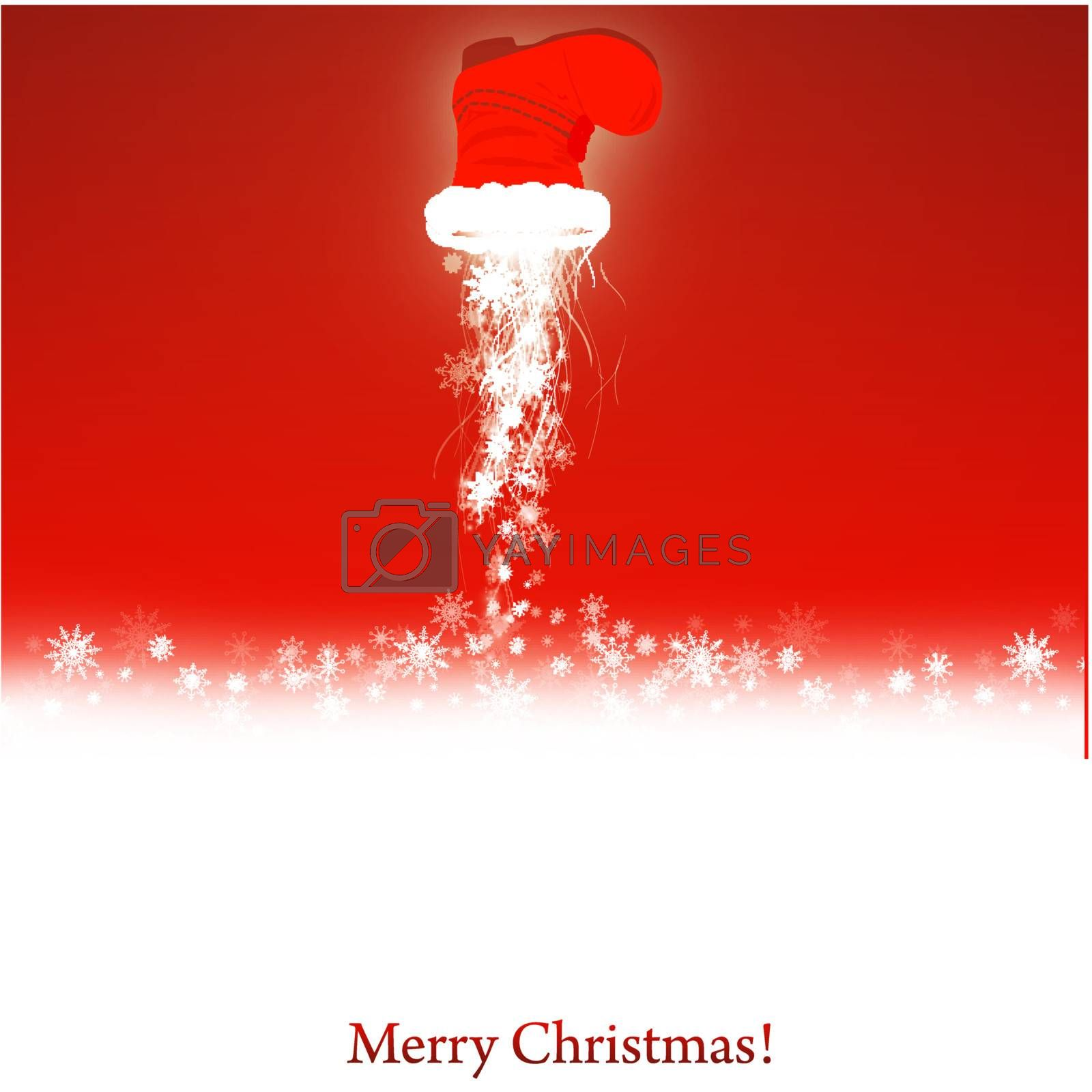 Christmas and New year wallpaper with magic Santa boot and copyspace