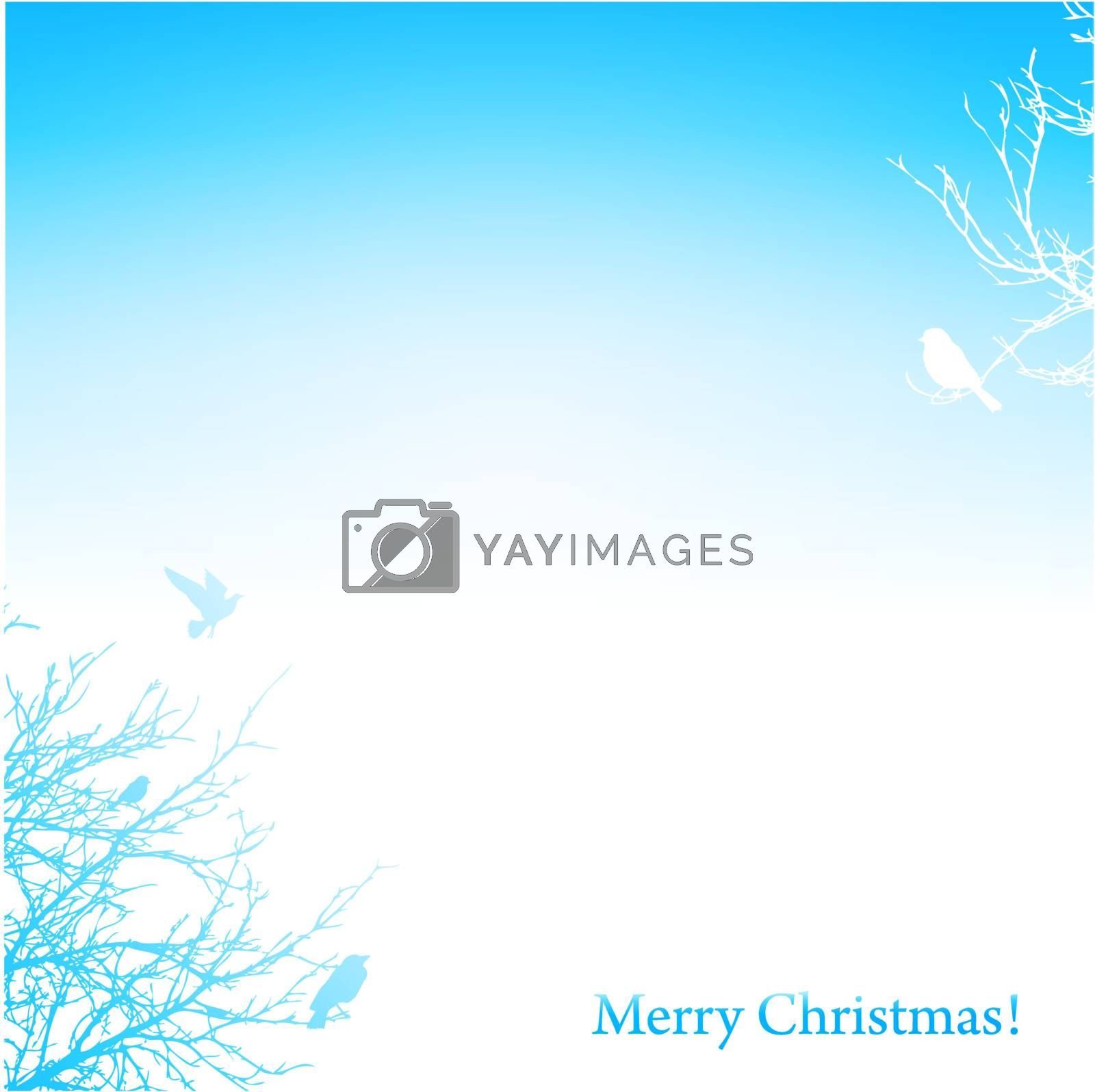 Christmas background with silhouette of trees and birds, copyspace
