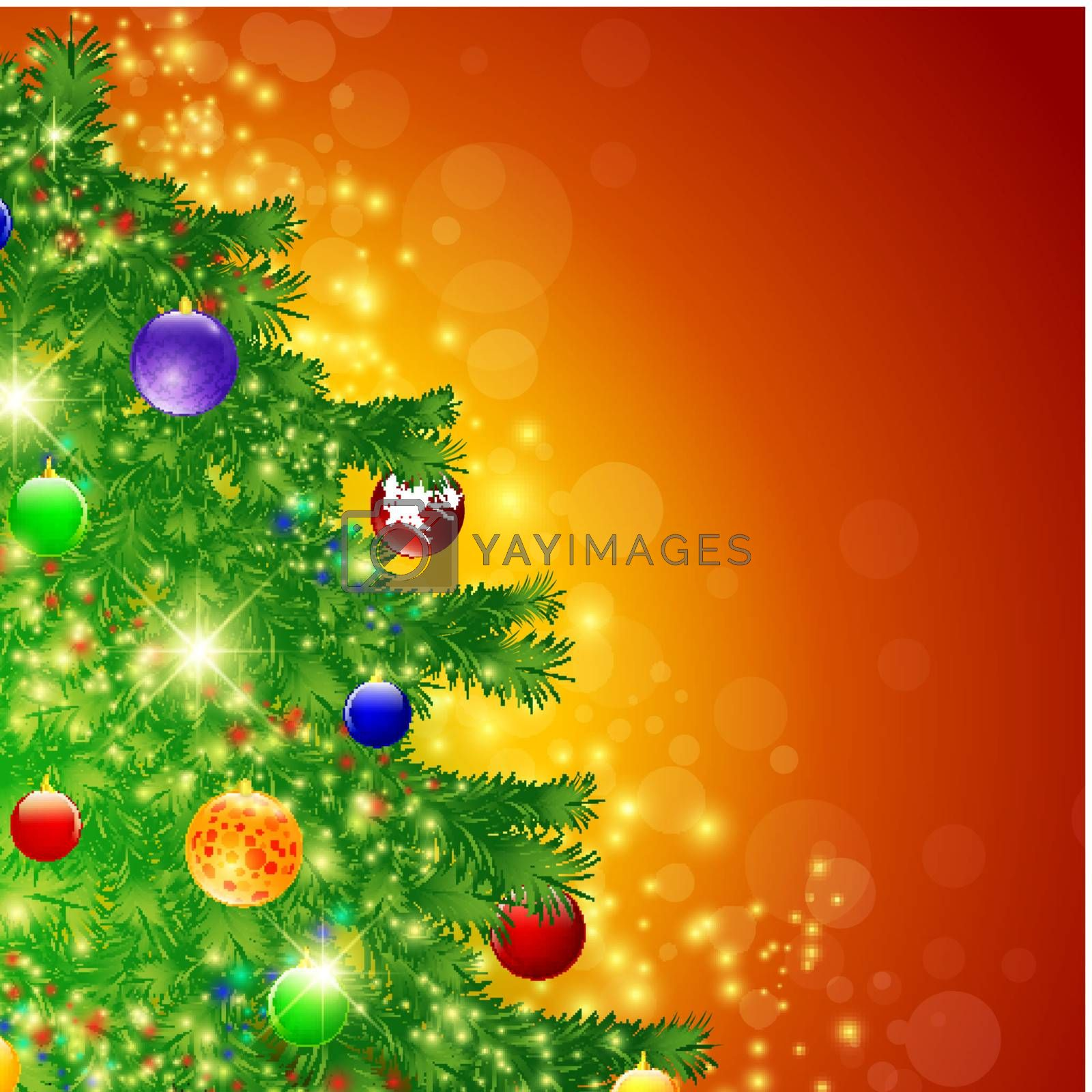 Illustration of decorated Christmas tree over bright background