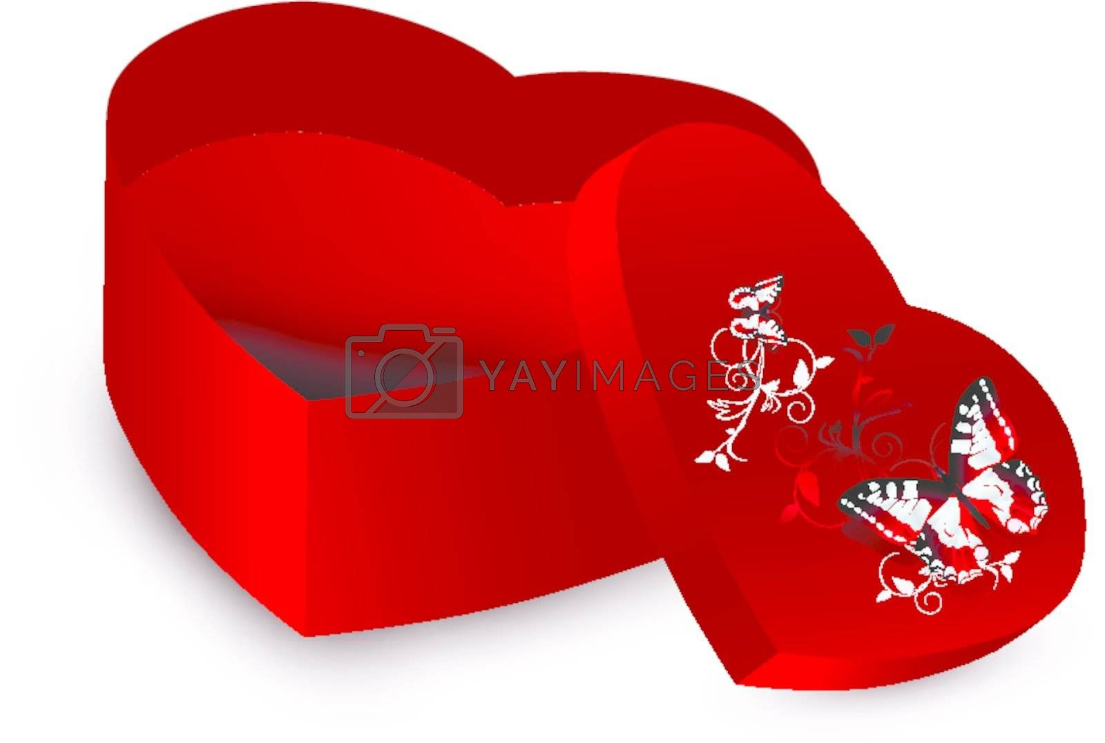 heart shape present opened box over white background