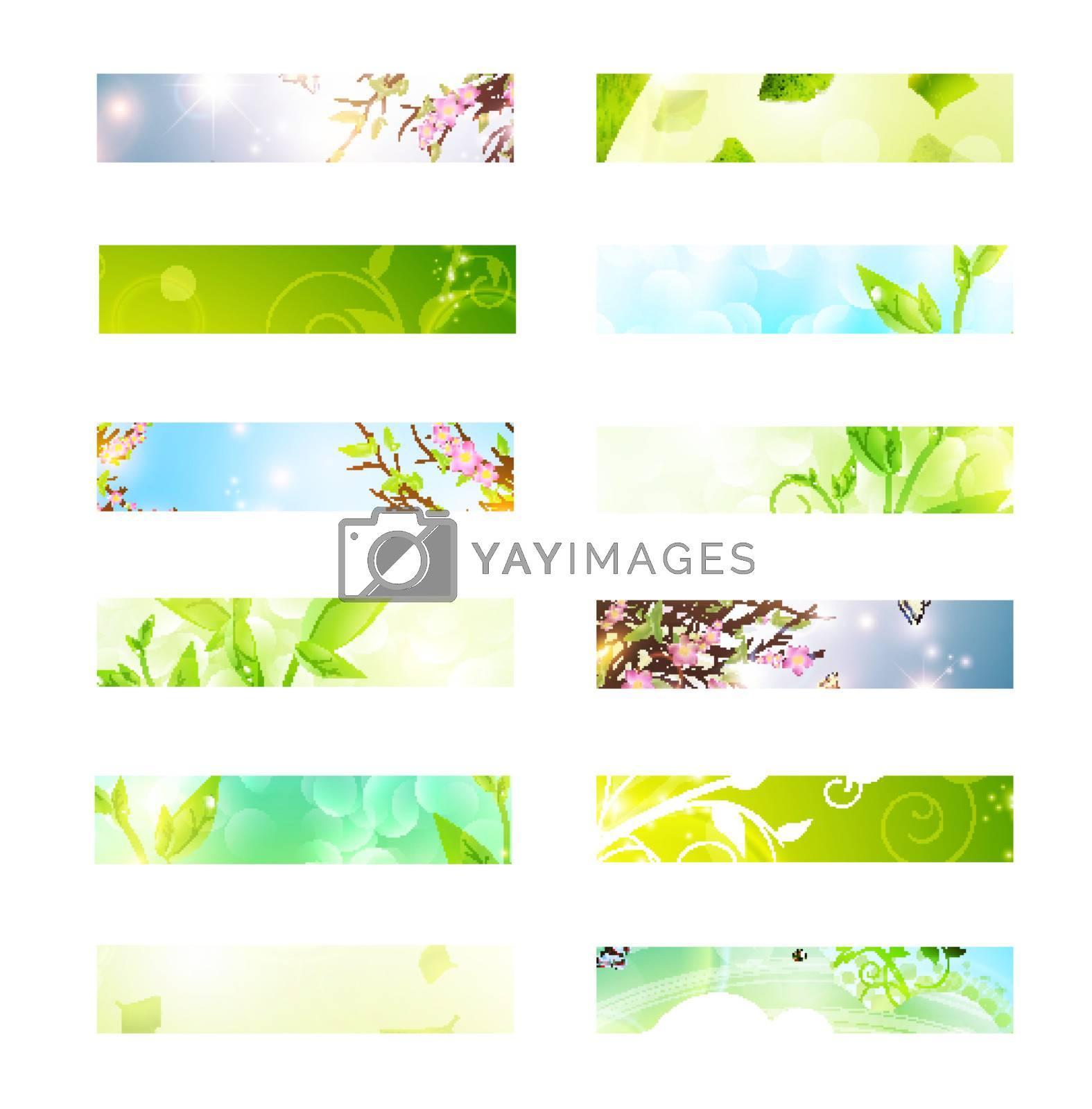 bright multicolored eco banner set over white