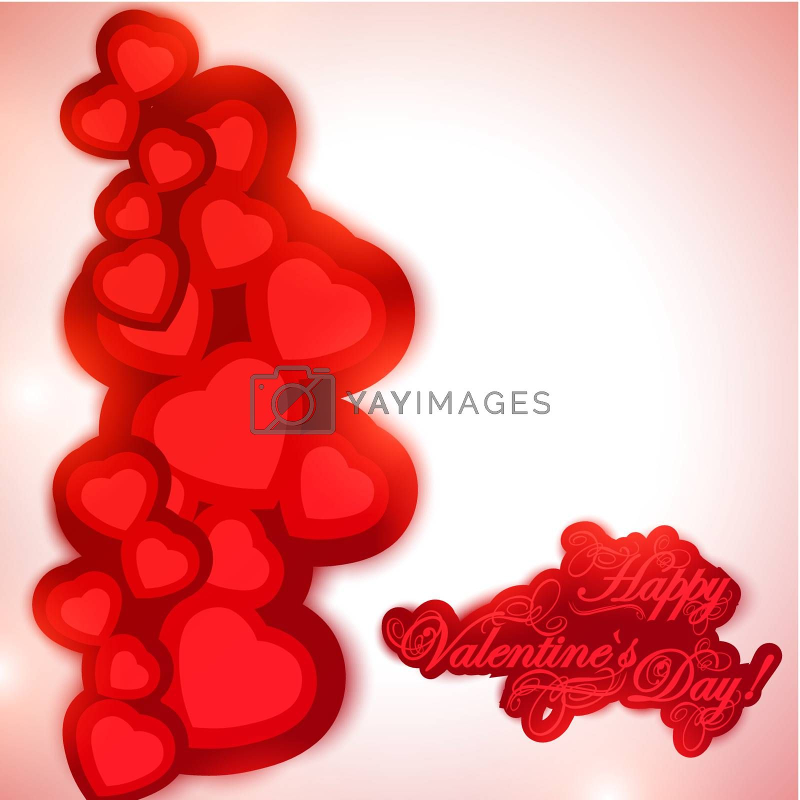Valentine day background with greetings and hearts