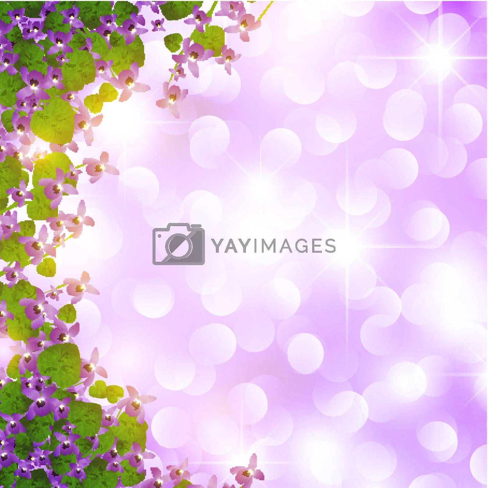 holiday border of wild violet over star background