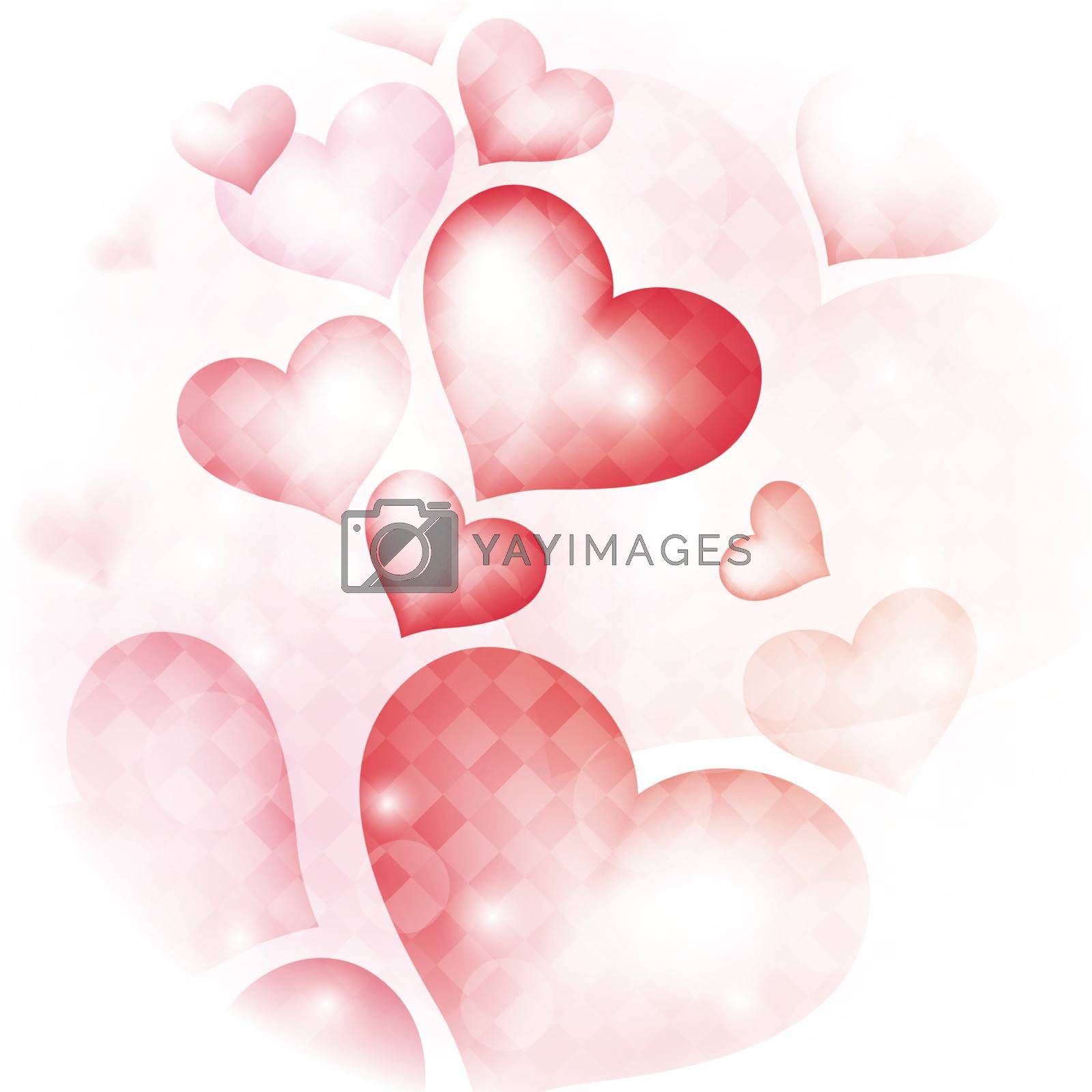 love bright background with hearts