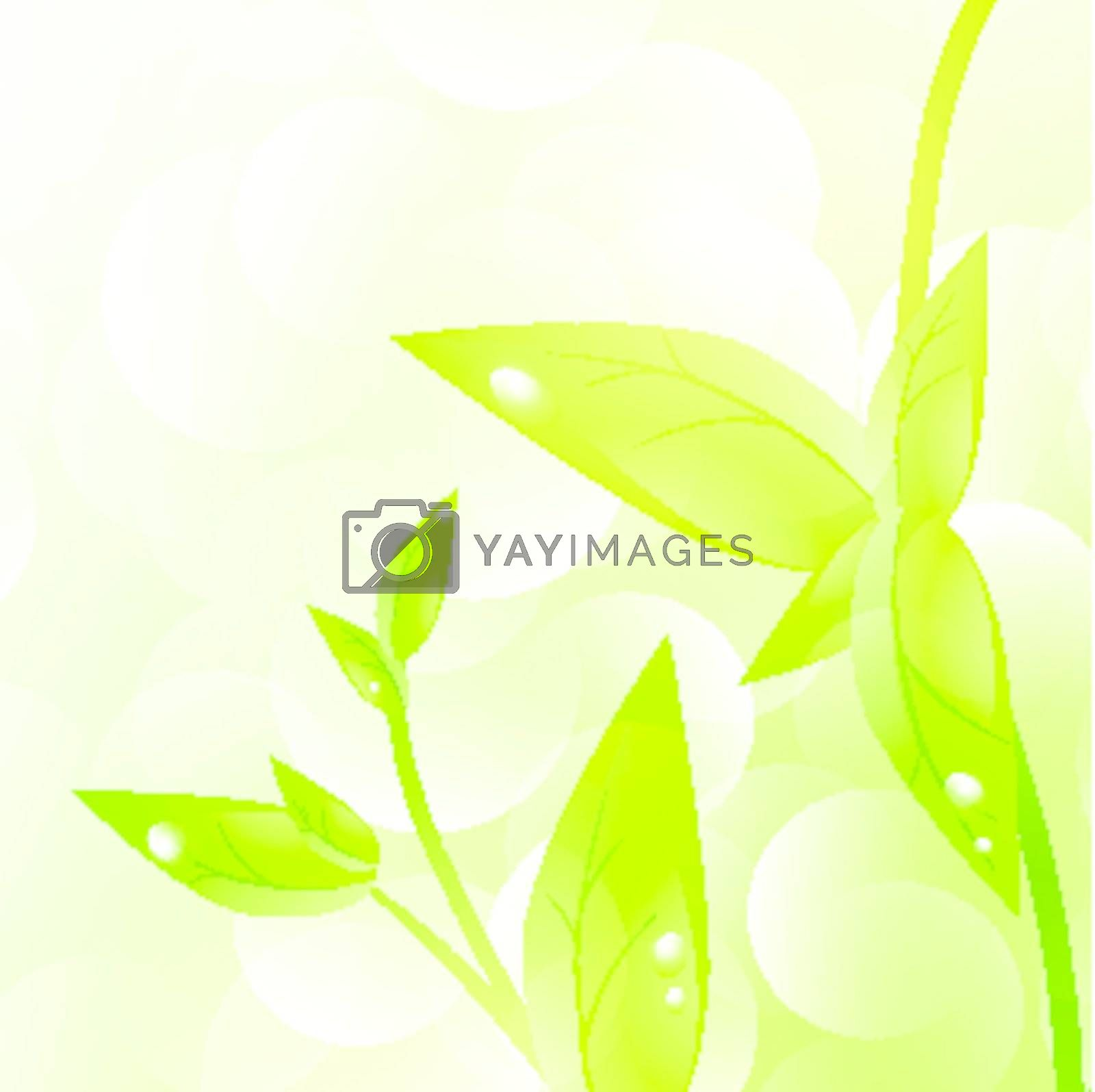 Green sprout with drops at leaves over fresh green background