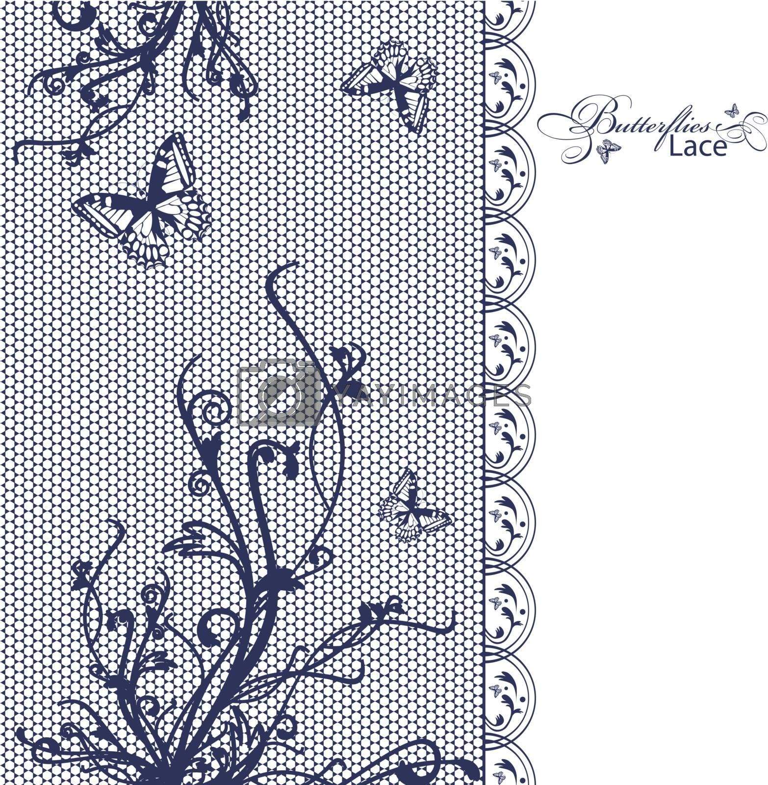 lace butterflies floral frame, copy space for your text