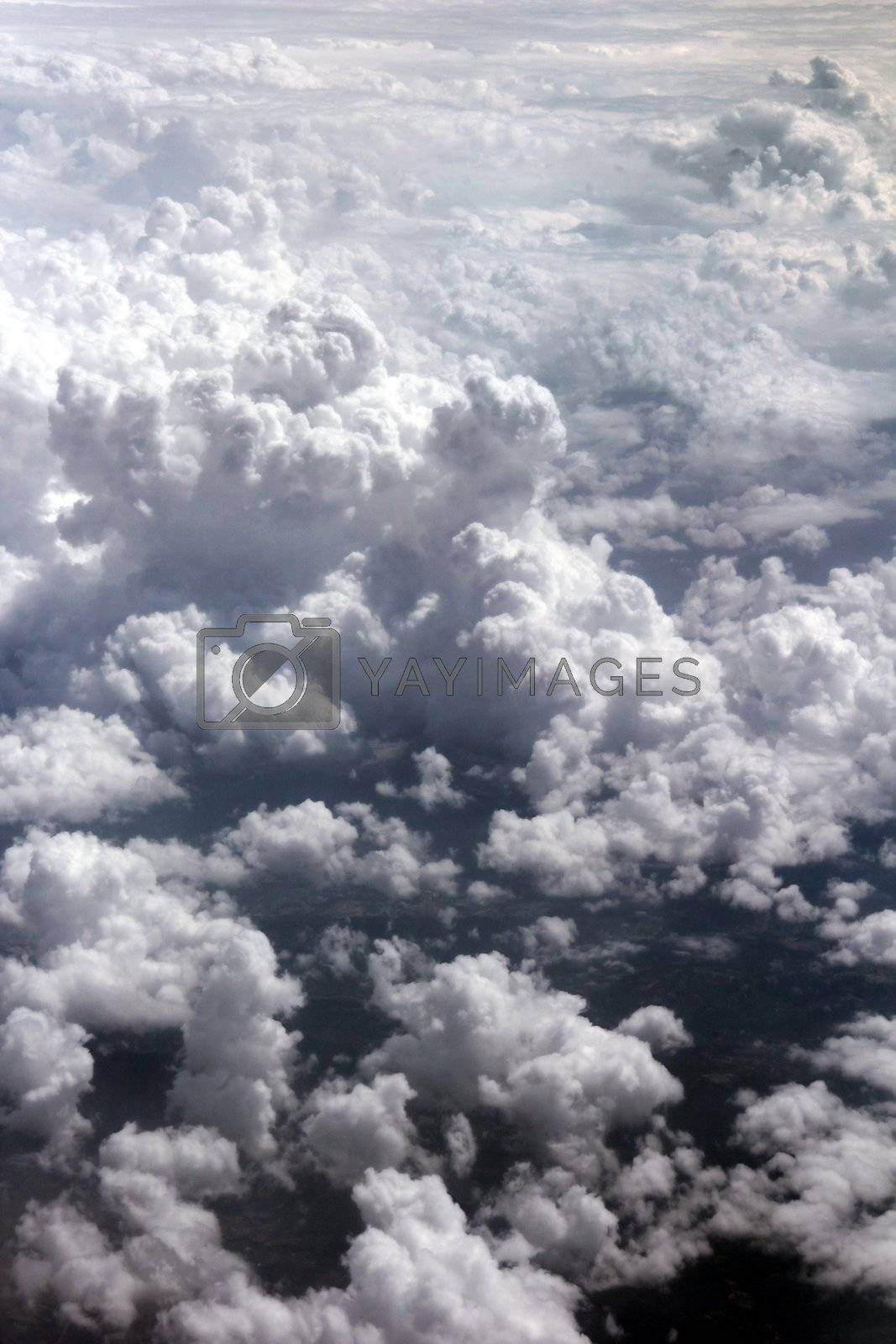clouds on the sky from a plane above