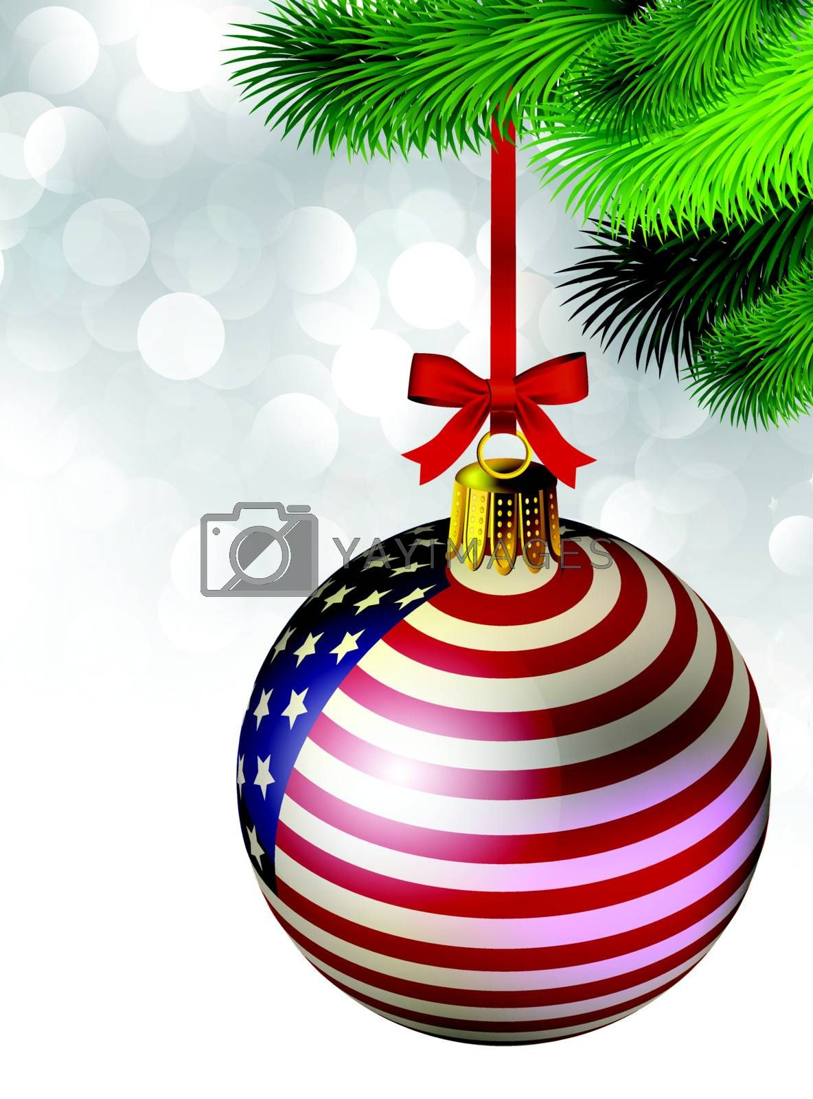 Christmas decoration from USA baubles on white