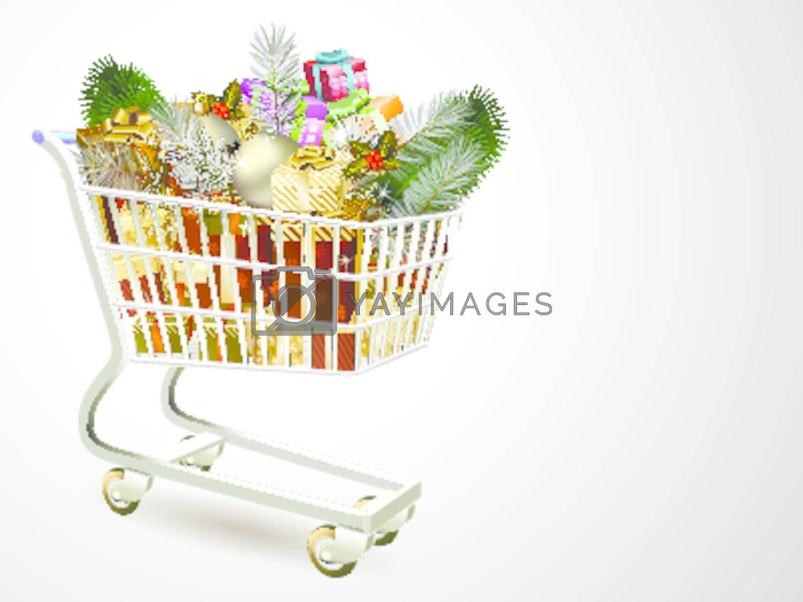 illustration of cart full of gift box Christmas decoration