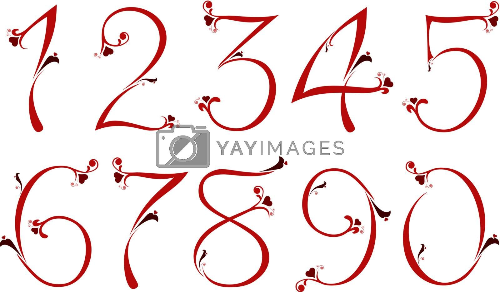Red numbers for St. Valentines Day