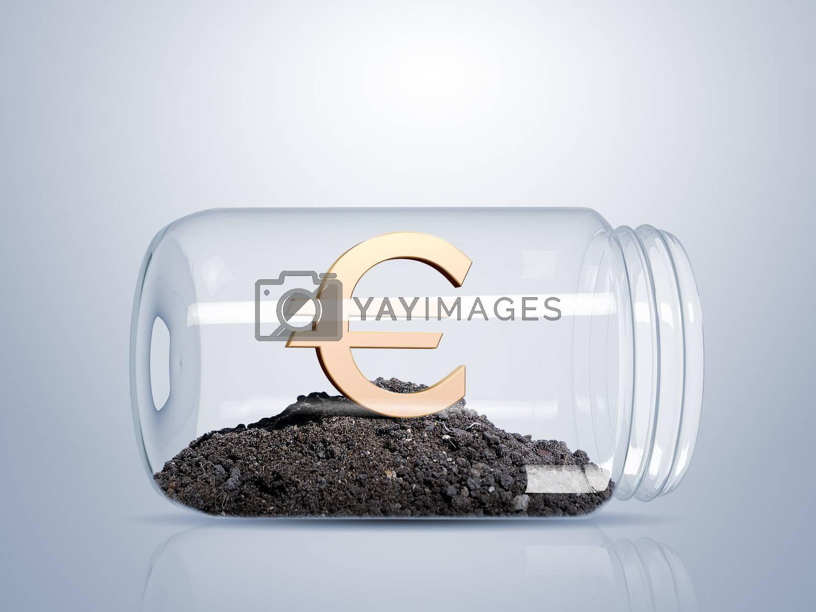 Transparent glass jar with money inside it