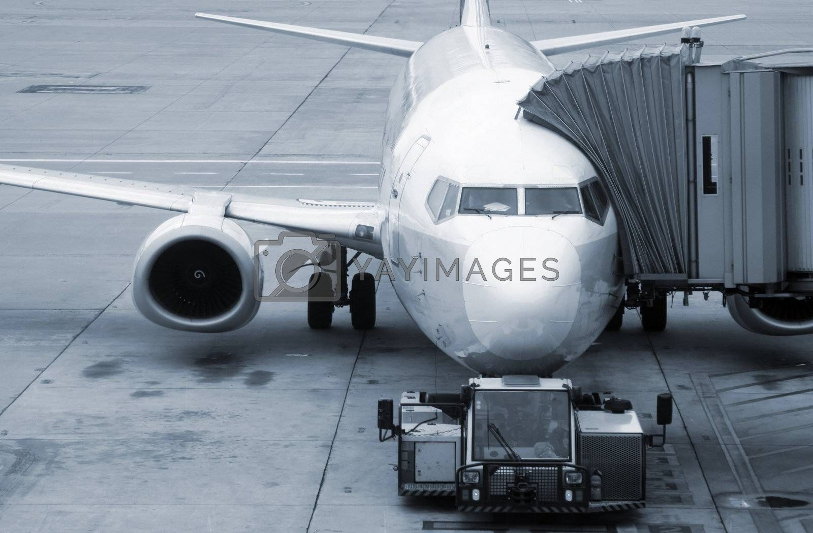 Aircraft standing at the airport ready for boarding