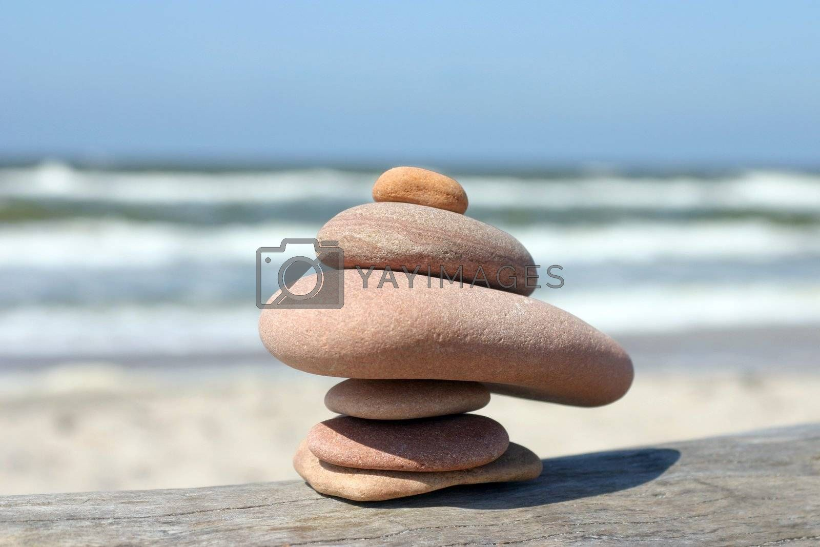 Pebble stones balancing on each other, close-up picture
