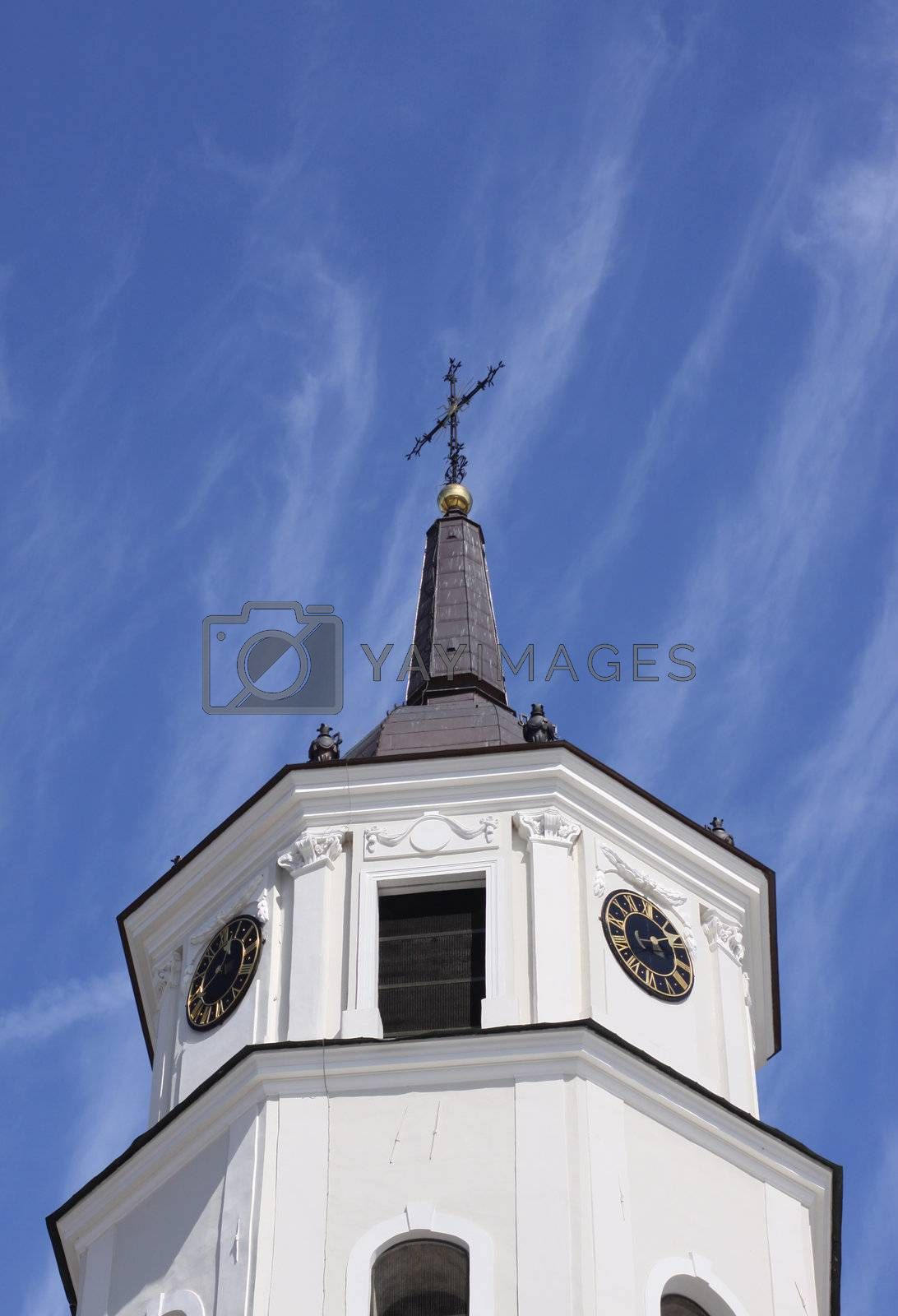 Vilnius cathedral bell tower against blue sky, Lithuania