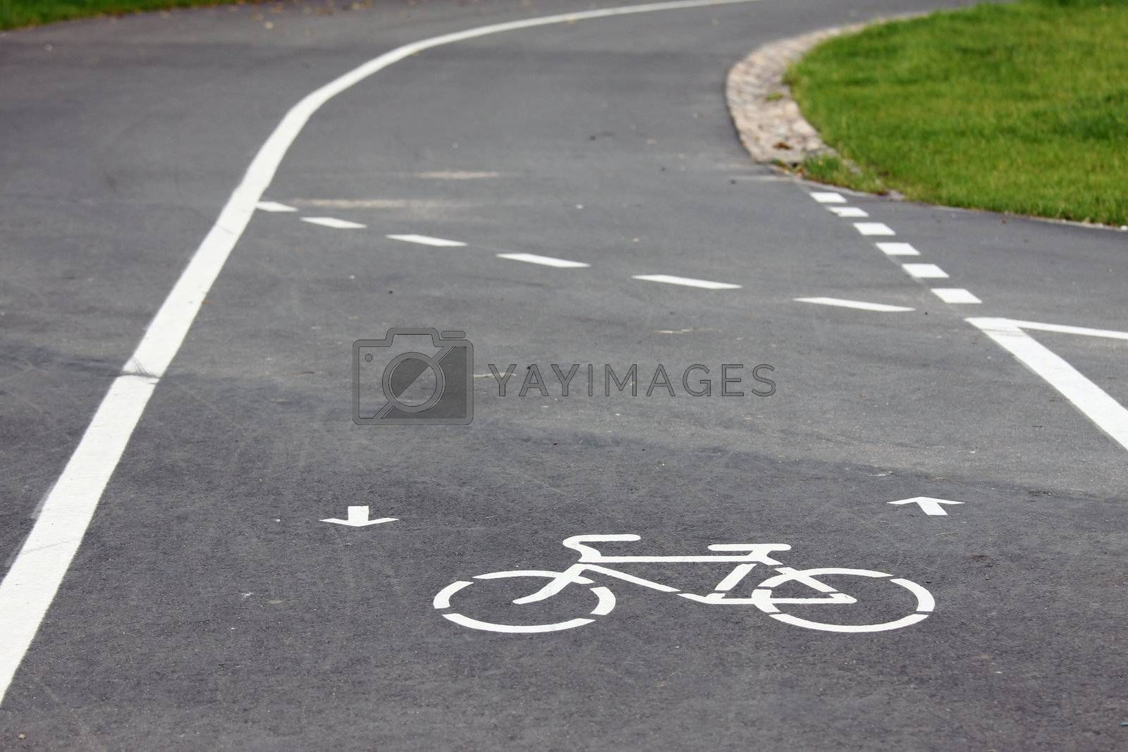 Bicycle route sign on the road and arrows pointing direction