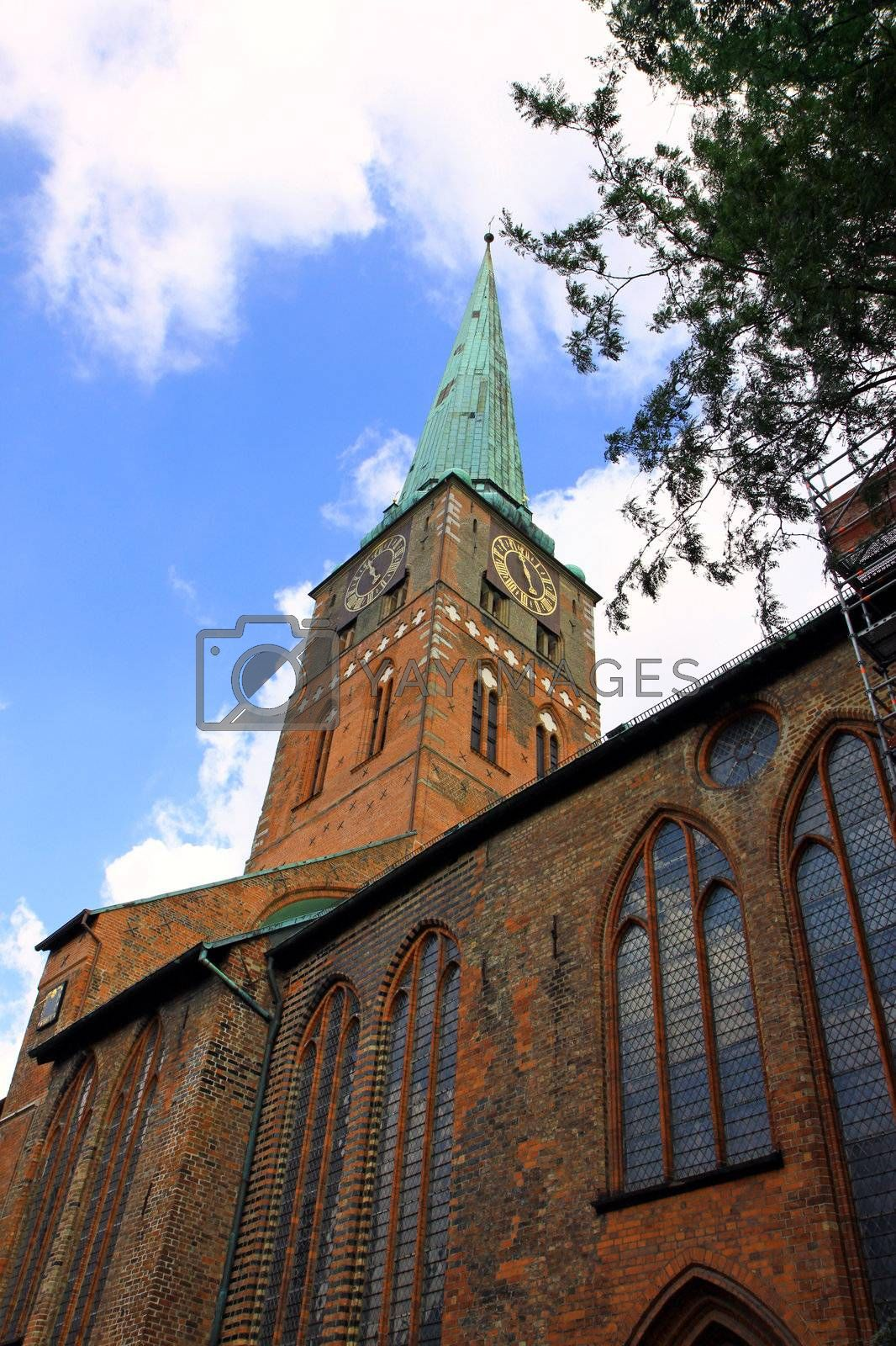 Low angle view to St. Mary's Church in Lubeck, Germany