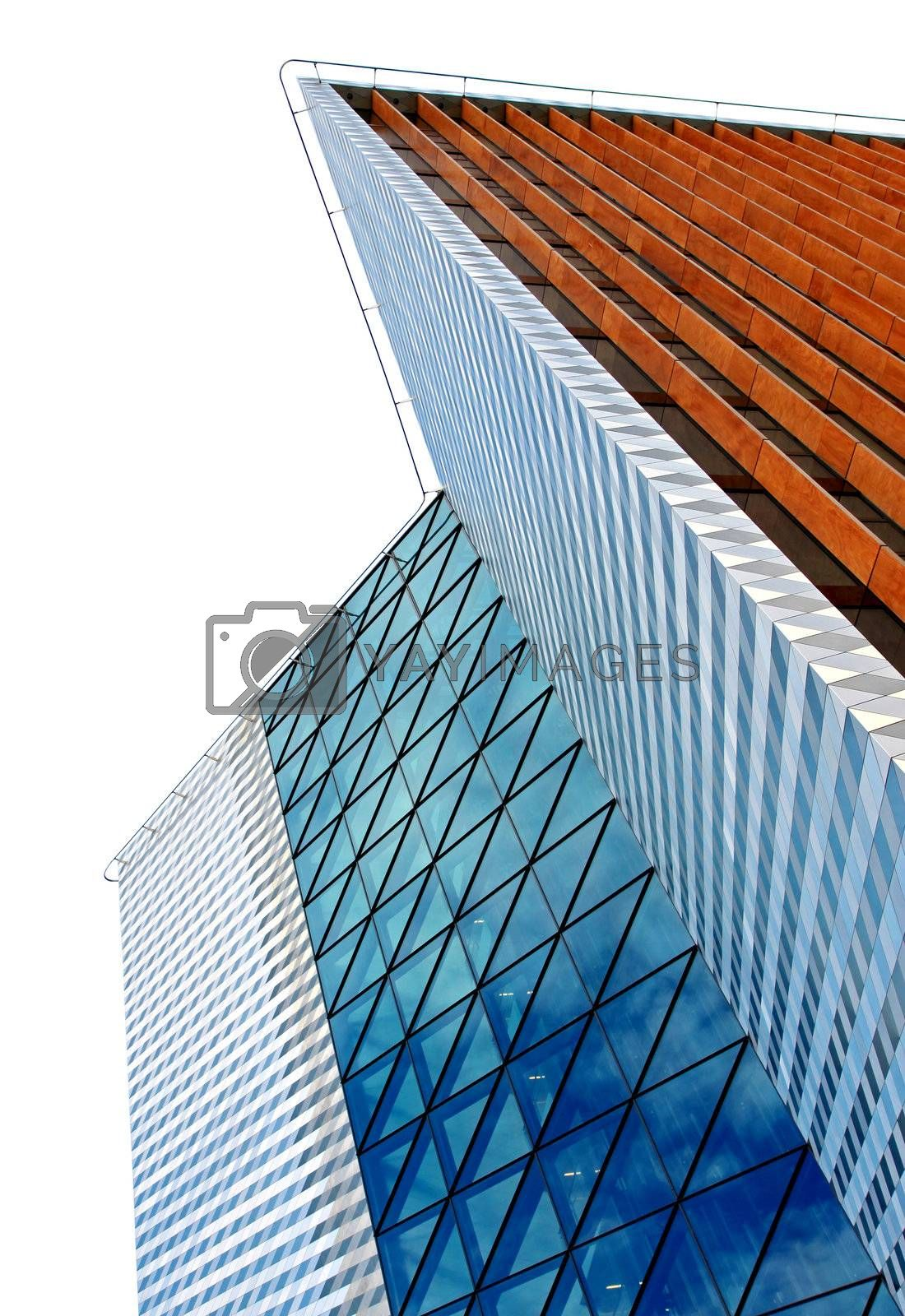 Low angle view on modern office building isolated on white