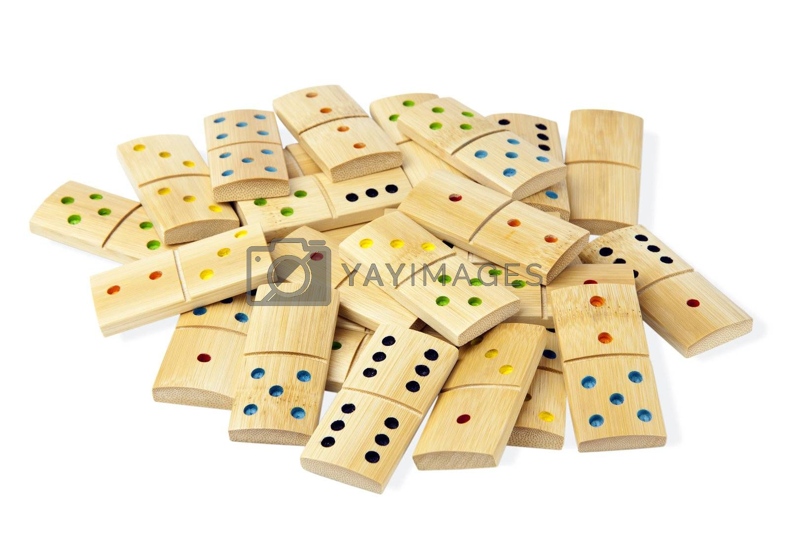 A pile of wooden dominoes isolated on white