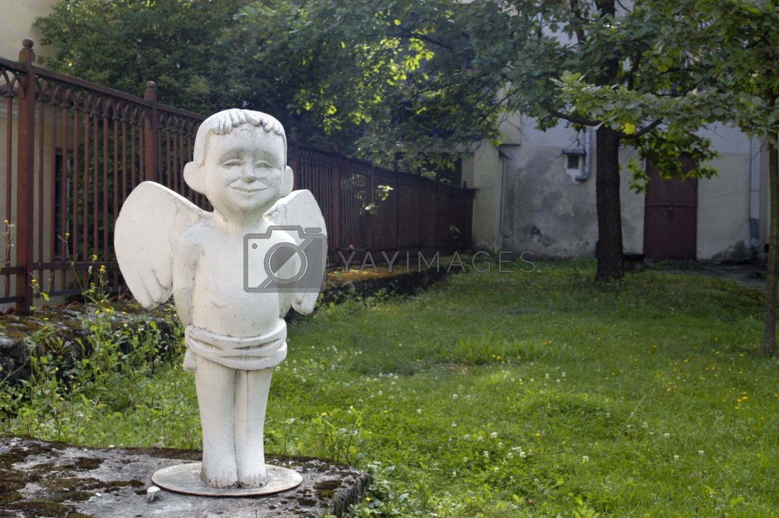 White angel statue in Vilnius old town, Lithuania