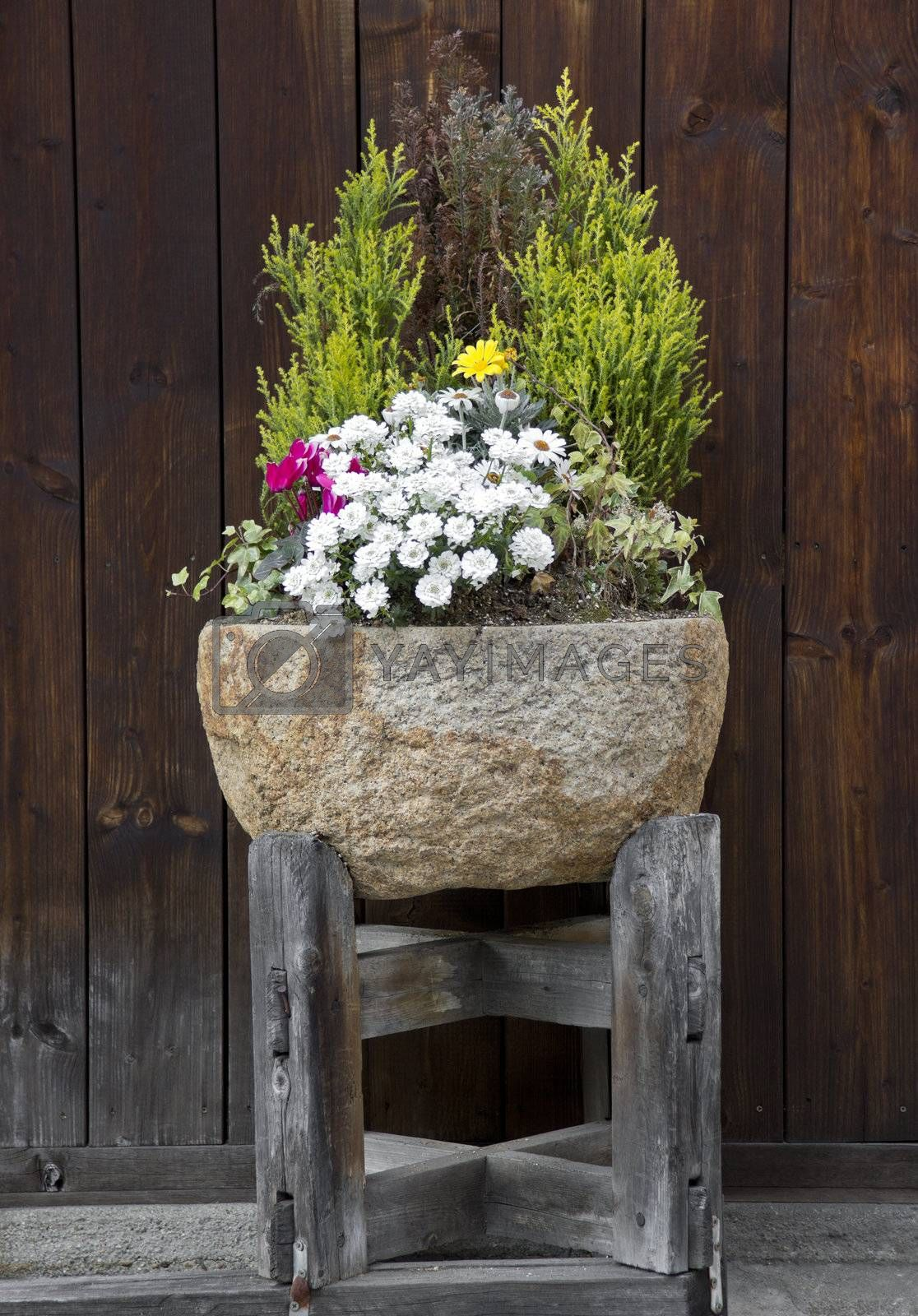 Stone flower pot with nice arrangement of plants and flowers