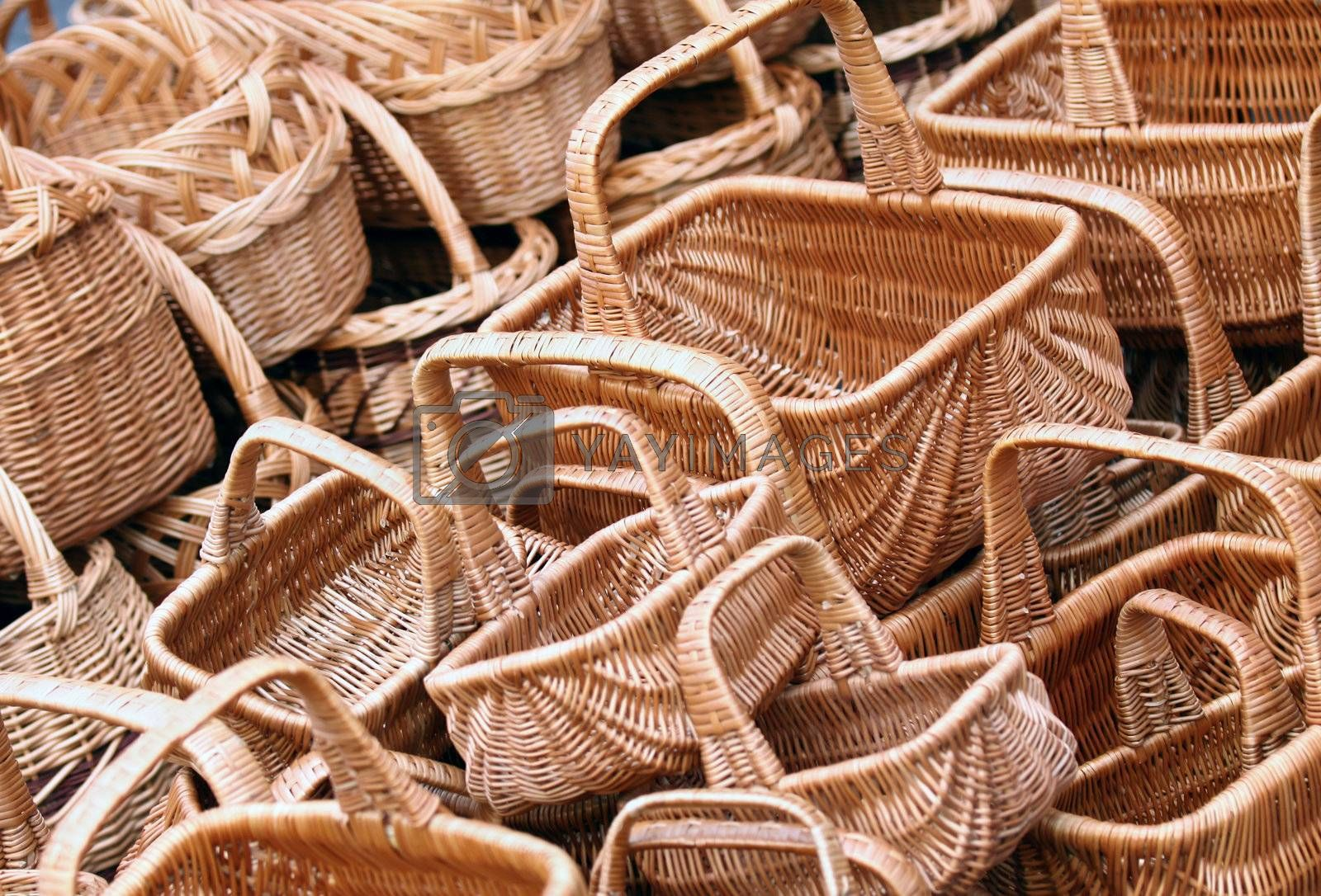 Empty new wicker baskets for sell, displayed at the market or fair
