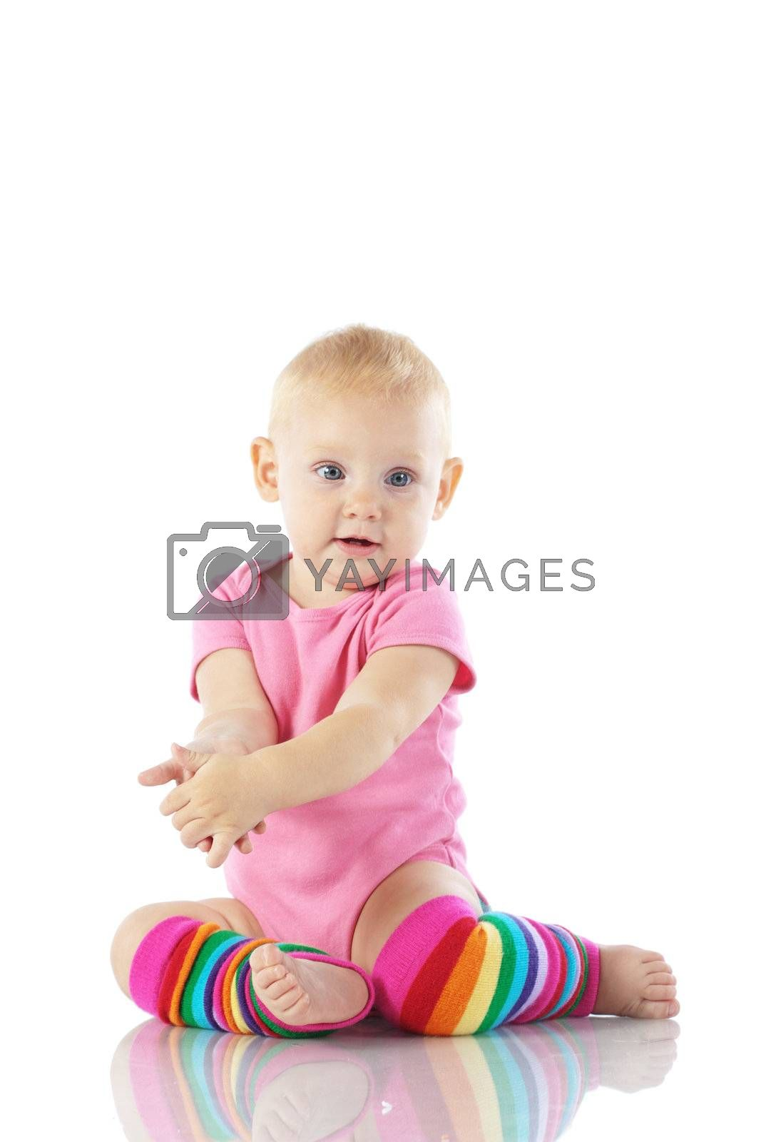 Cute toddler isolated on white background