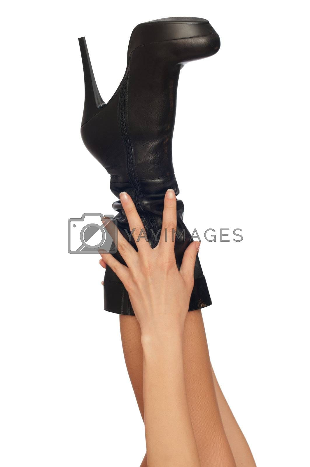 black leather high heel stiletto fetish boots