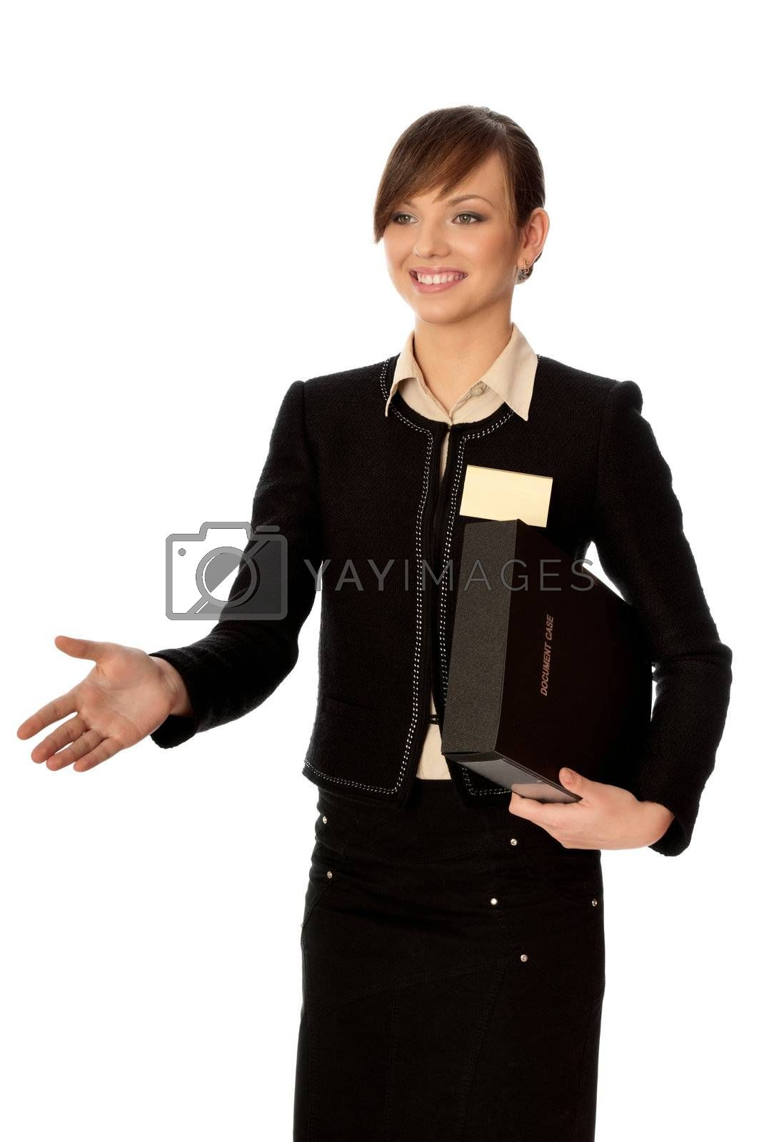 businesswoman shook hands with her partner on the meeting