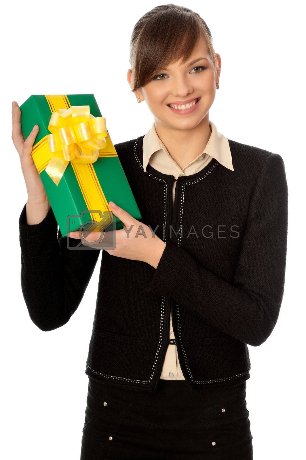 Woman holding a green box with yellow bow as a present