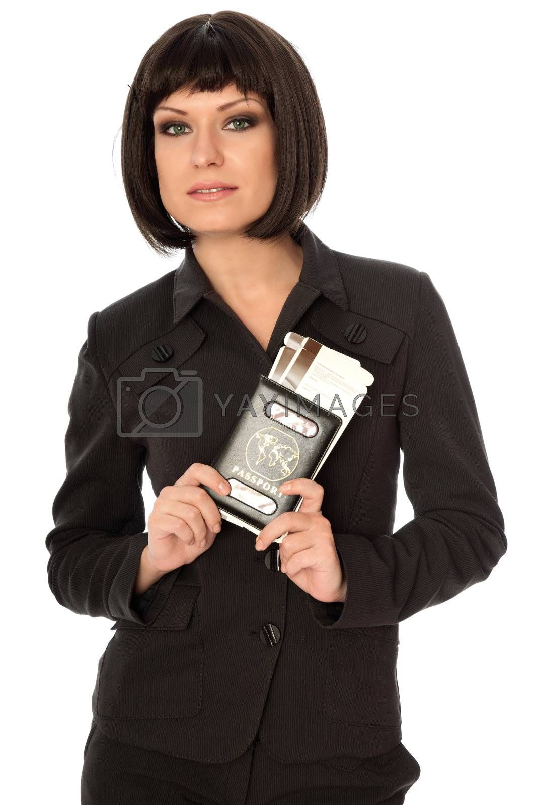 Woman holding in the hand passport for a business trip