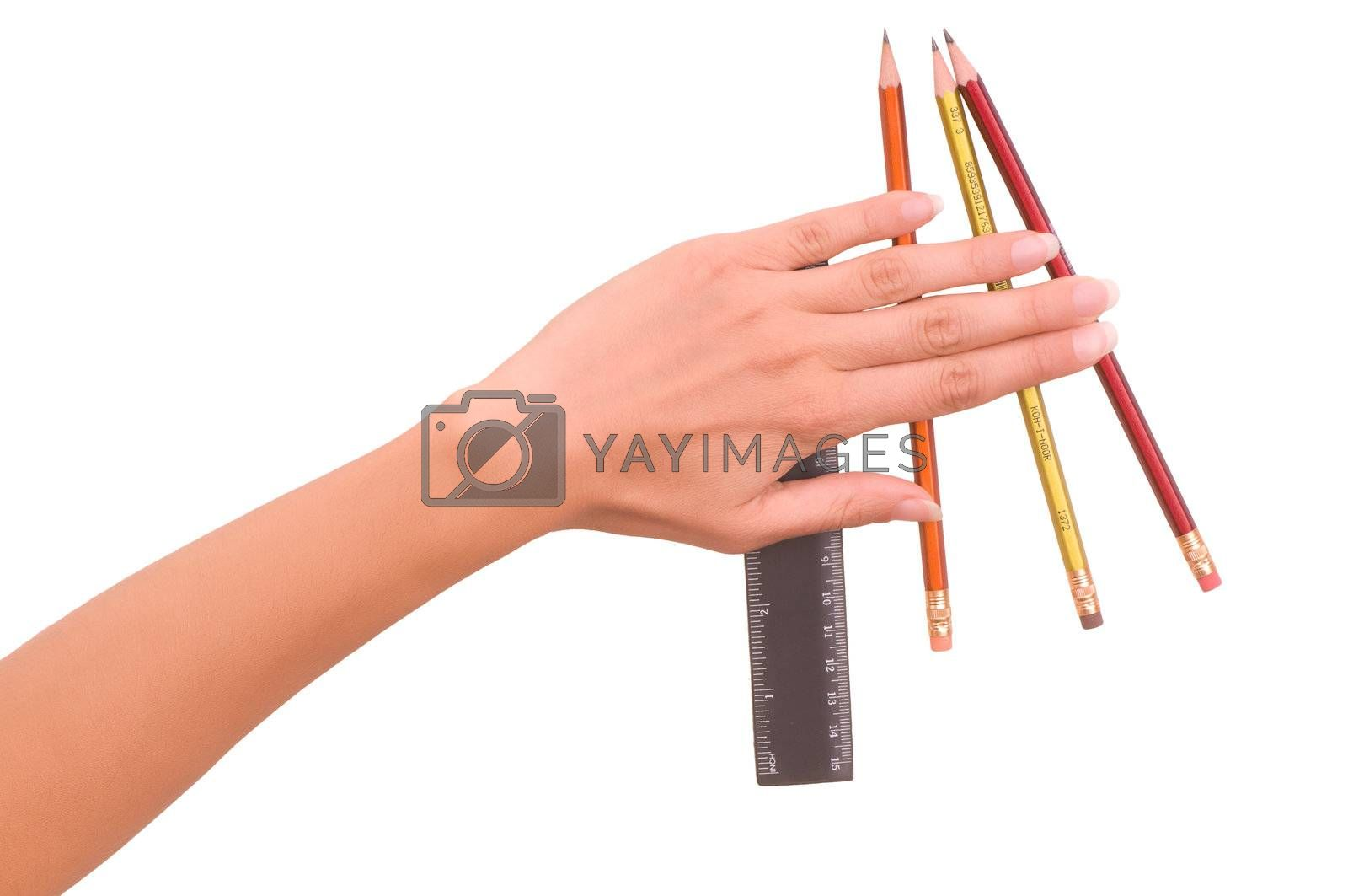 Pencils and rule for drawing
