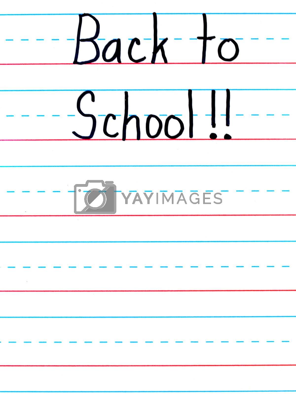 Back to School Written on a Lined Dry Erase Board