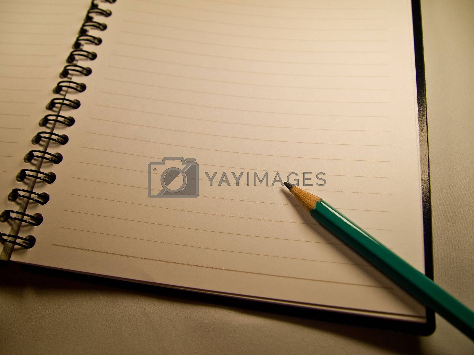 Green pencil on notebook
