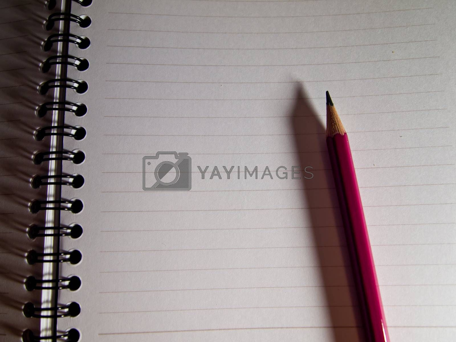 Pink pencil on notebook1