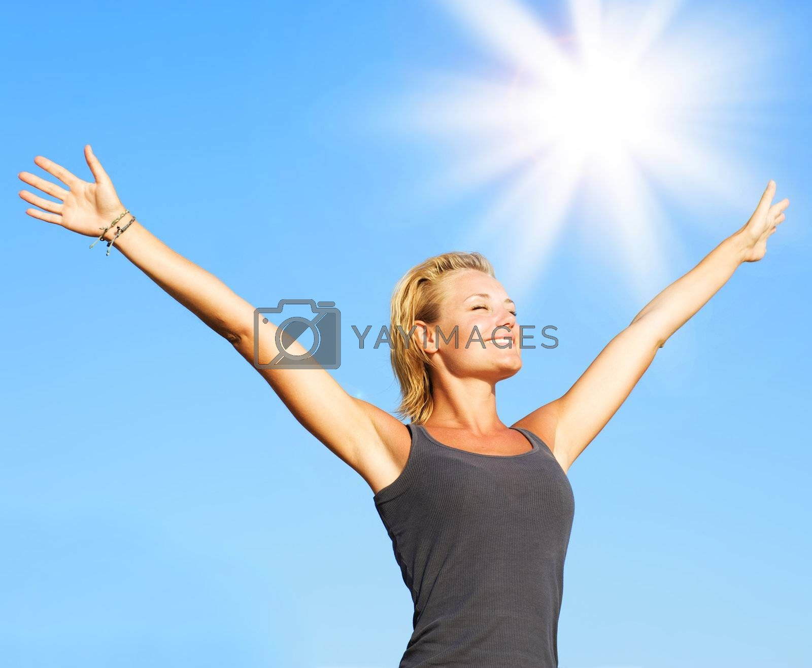 Healthy Young Woman Over Blue Sky
