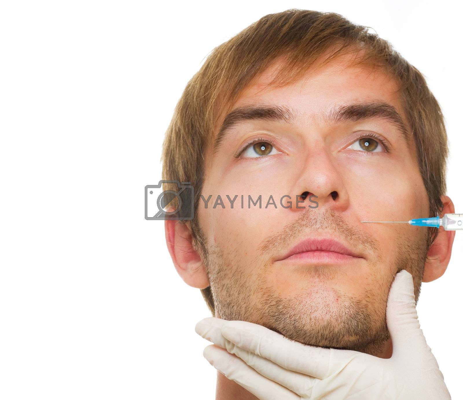 Man gets cosmetic injection of botox .Beauty Treatment