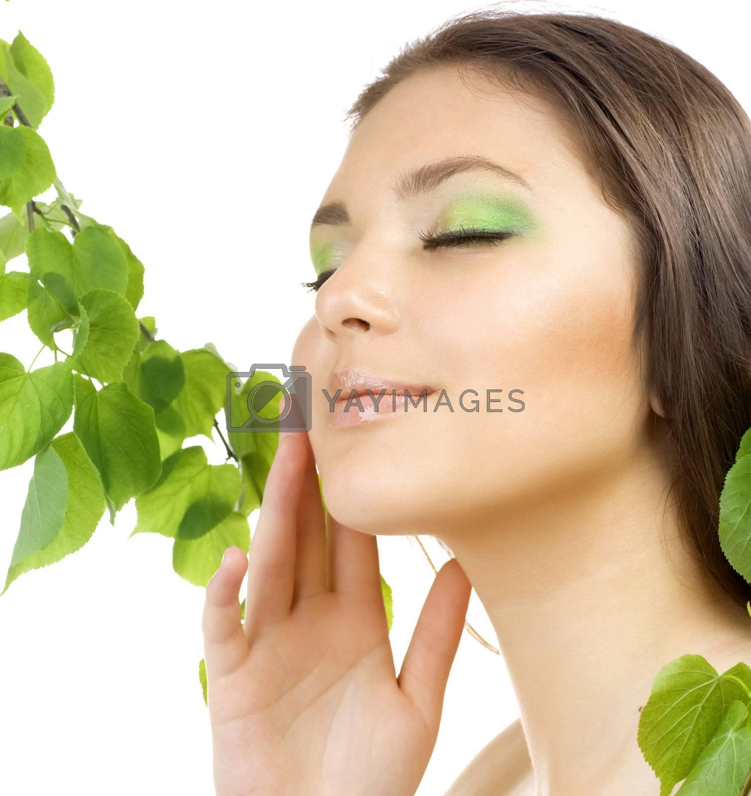 Beautiful Young Woman Touching Her Face. Healthy Skin