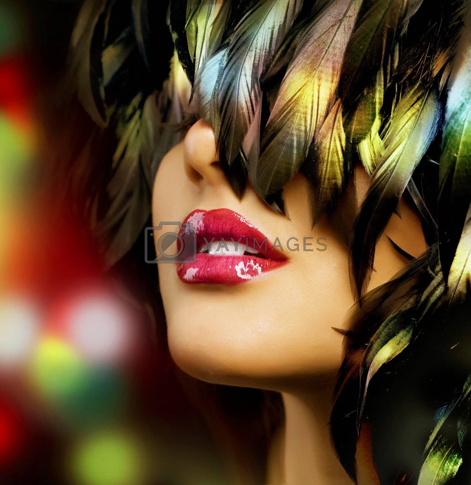 Fashion Woman Portrait. Red Lips