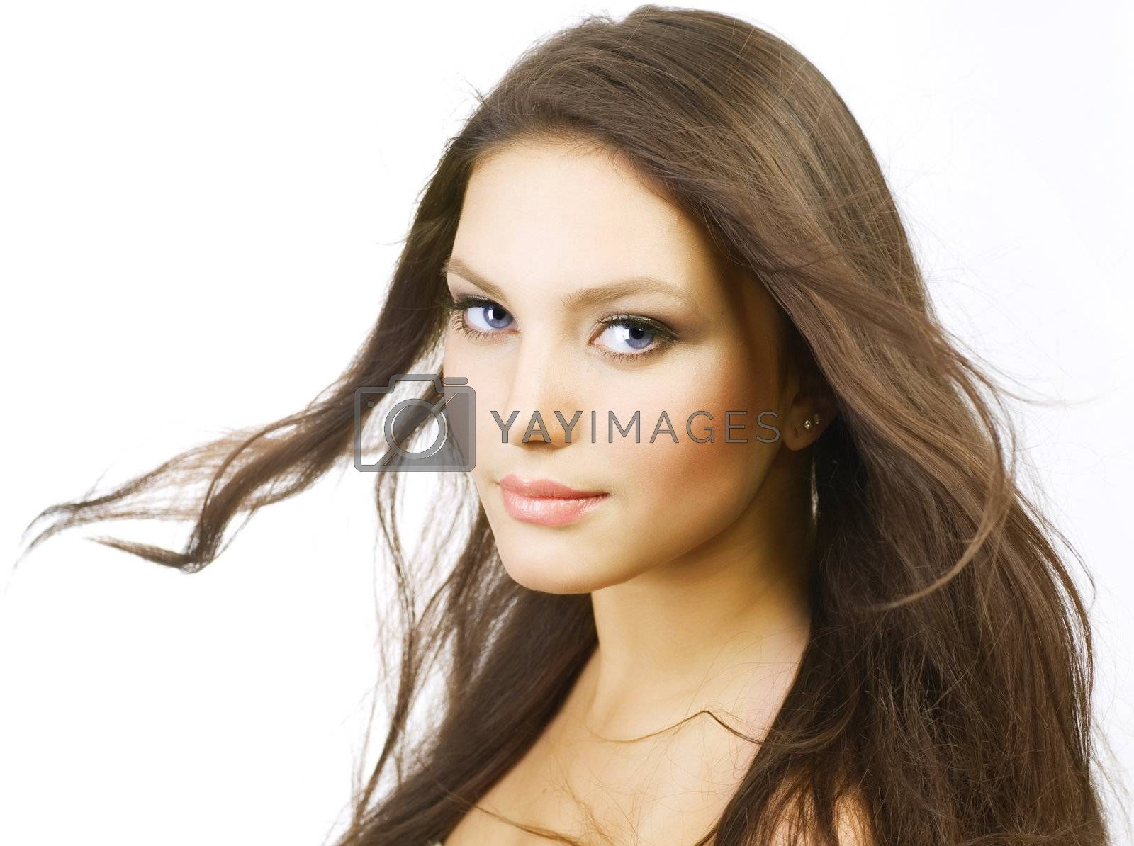 Beautiful Girl with long Hair. Isolated on white