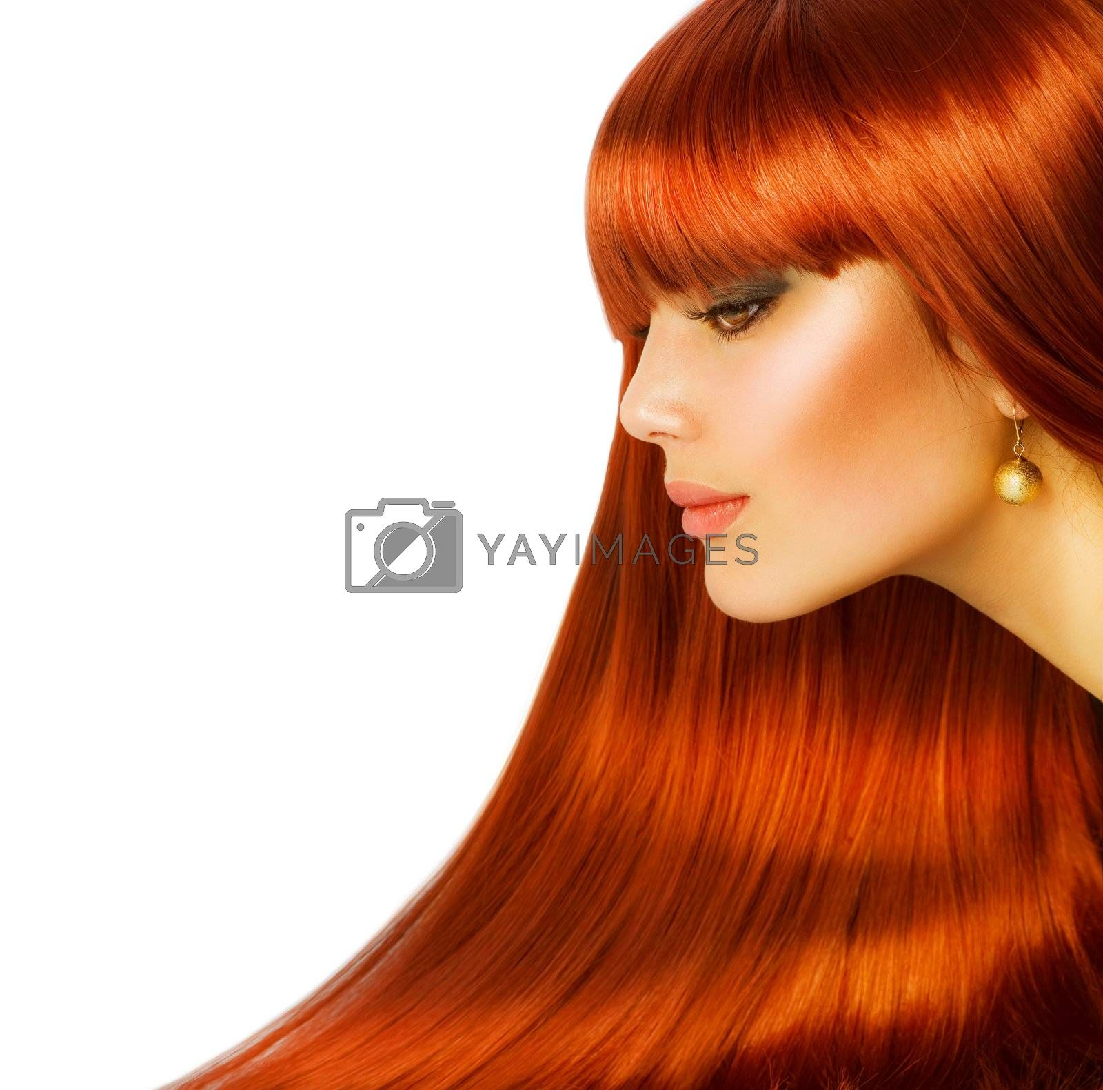 Beautiful Girl with Healthy Long Hair. Isolated on white