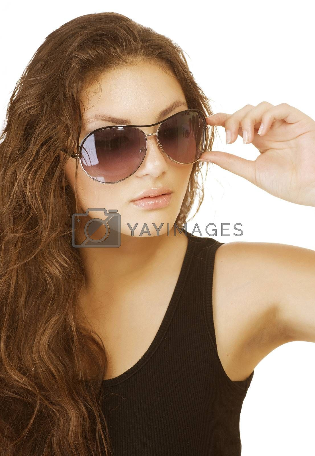 Beautiful Fashion Woman Wearing Sunglasses