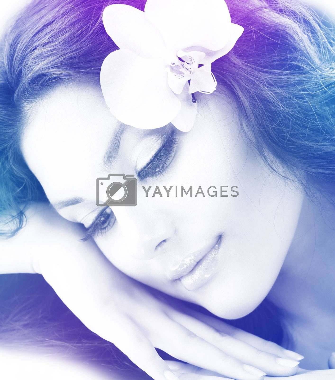 Beautiful Woman's Face. Transparent Colorful Art Design