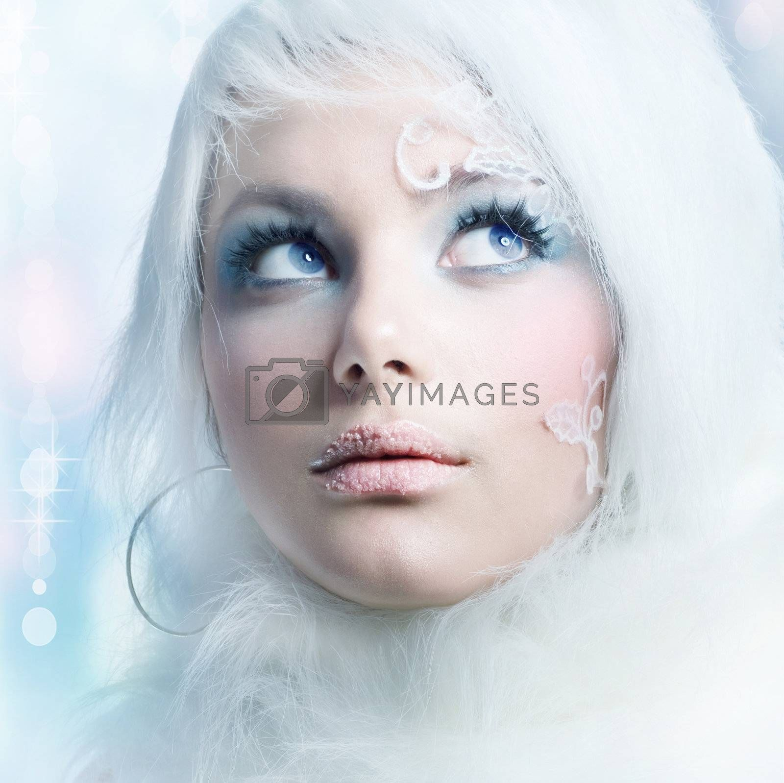 Creative Winter Makeup. Beautiful Girl's Face
