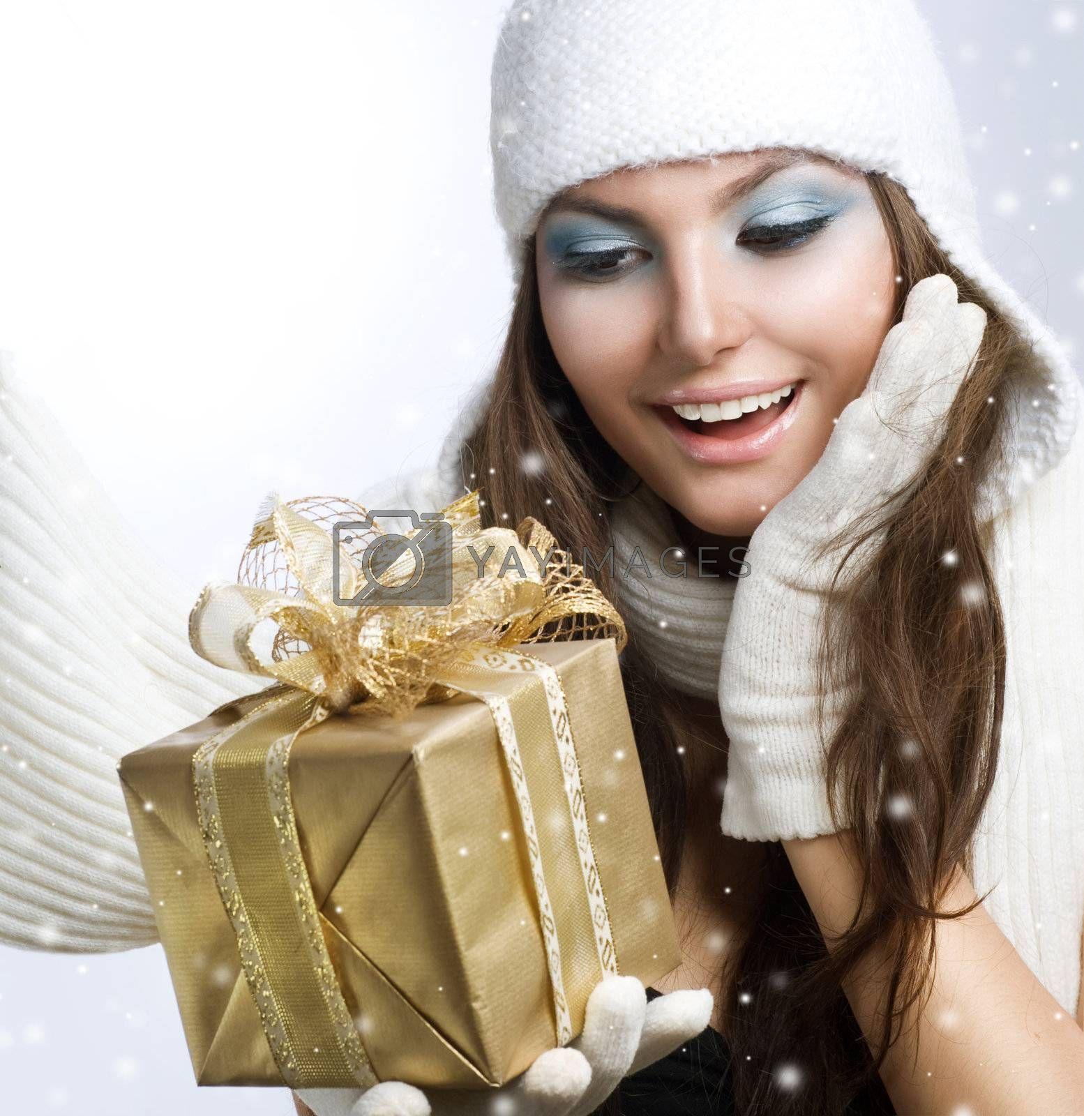 Royalty free image of Christmas Gift. Surprised Beauty by SubbotinaA