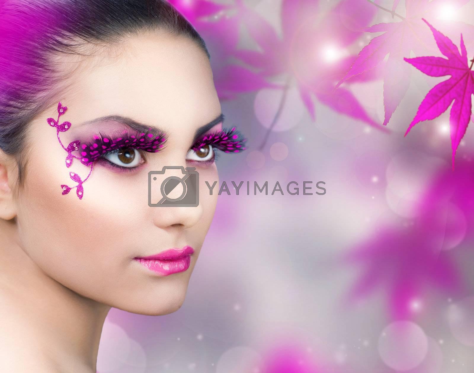 Beautiful Girl. Creative Fashion Makeup